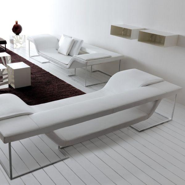 Flap divano da soggiorno design moderno in acciaio ed - Divano bianco ecopelle ...