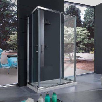 Box doccia tre lati S70 in vetro temperato 6 mm porta scorrevole