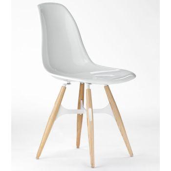 ZigZag sedia moderna da cucina in policarbonato gambe in frassino