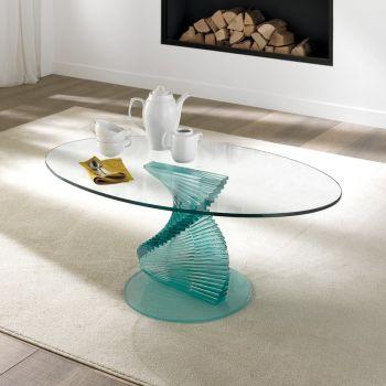 Tavolino salotto Angels a spirale in vetro trasparente 12 mm