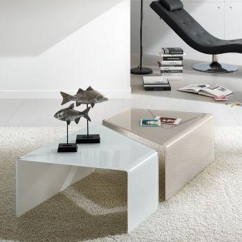 Coppia tavolini Ballarat in vetro curvato 12 mm Bianco o Grigio