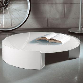 Tavolino da salotto Moon rotondo in acciaio e vetro extra chiaro