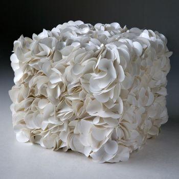 Qubo pouff cubo per esterno in legno rivestito in tela nautica