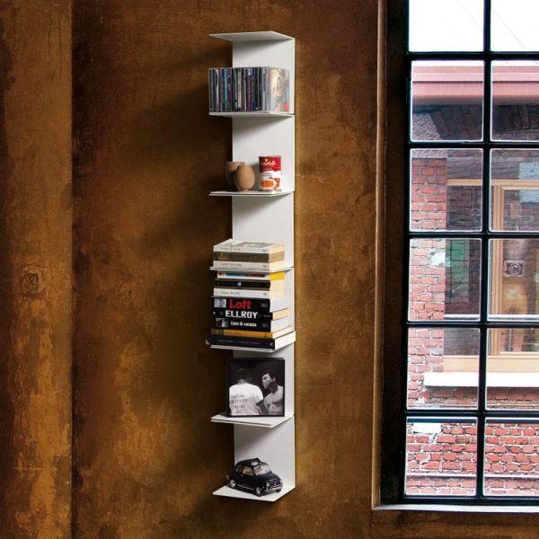 Libreria da parete verticale con mensole metalliche Ghost