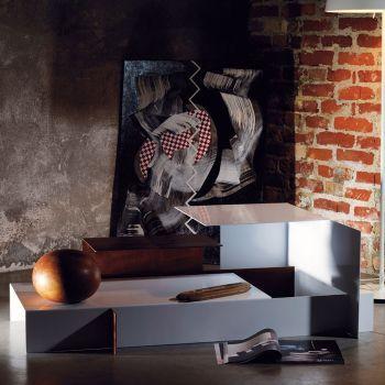 Metropolitan tavolino da salotto design moderno in acciaio 130 x 80 cm