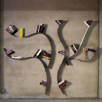 Libreria da parete ad albero Wallboarding1 mensole in acciaio