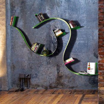 Libreria da parete flessibile Wallboarding5 mensole in acciaio armonico