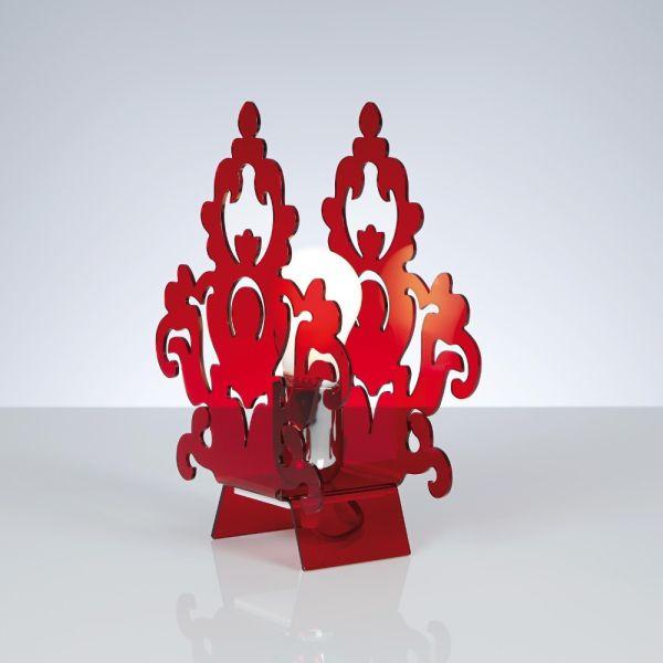 Abat jour design in metacrilato trasparente satinato rosso Amarilli