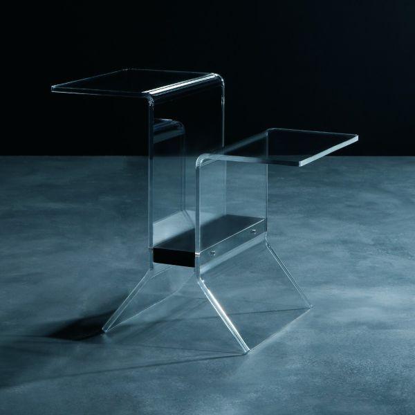 Tavolino con portariviste per salotto in plexiglass trasparente Ideo