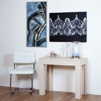 Consolle moderna Londra allungabile in legno Bianco Wenghè Rovere