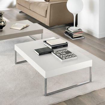 Pickett tavolino da fumo in metallo e legno MDF Bianco o Tortora