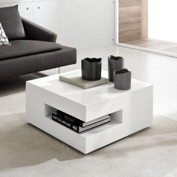 Spare tavolino da fumo in legno Bianco o Tortora 70 x 70 cm
