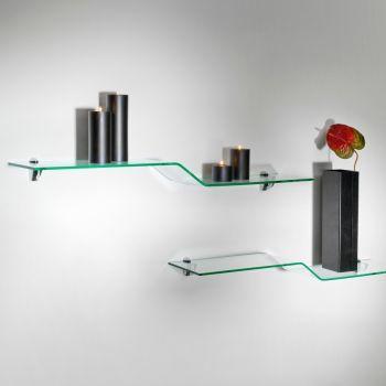 Mensole moderne Boa in vetro curvato trasparente 100 cm