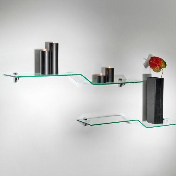Mensole moderne in vetro curvato trasparente 100 cm Boa