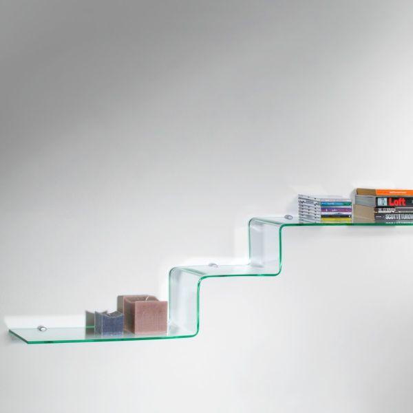 Mensole design moderno in vetro trasparente a scalino Step