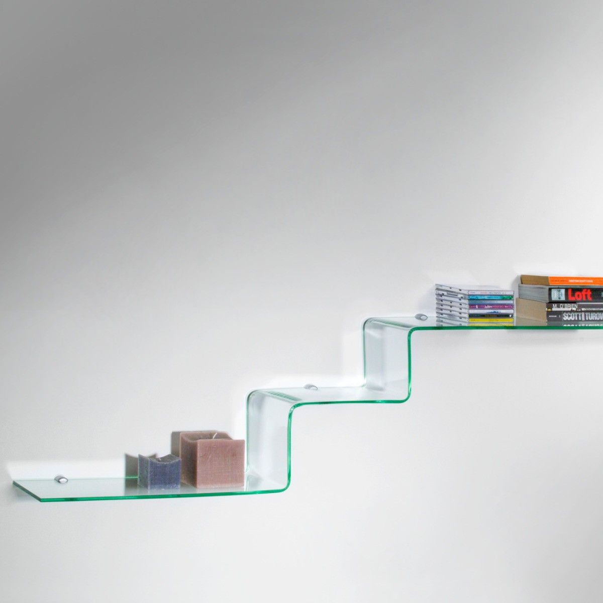 Mensole design moderno in vetro trasparente a scalino step for Arredamento mensole di design