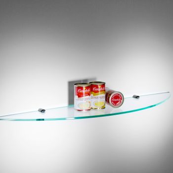 Cinque mensole Spicchio rotonde per cucina in vetro 90 cm
