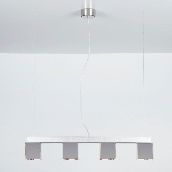 Lampadario sospensione a 4 luci su barra per soggiorno o cucina DidoDado Cromo