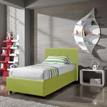 Supreme letto singolo con contenitore o fisso in tessuto o ecopelle