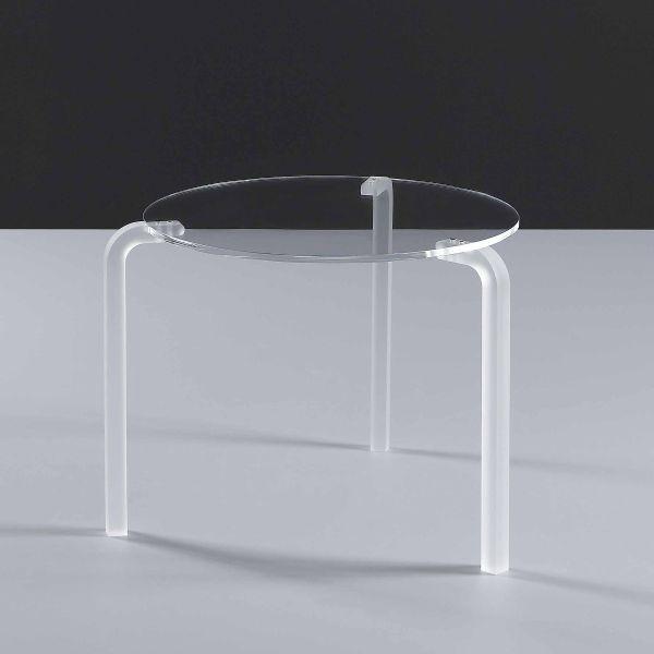 Tavolino da salotto tondo Finny in metacrilato trasparente