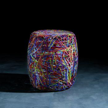 Satori pouff moderno da soggiorno in plastica bianco o multicolor