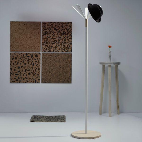 Attaccapanni design a piantana in metallo e legno Juta Wood