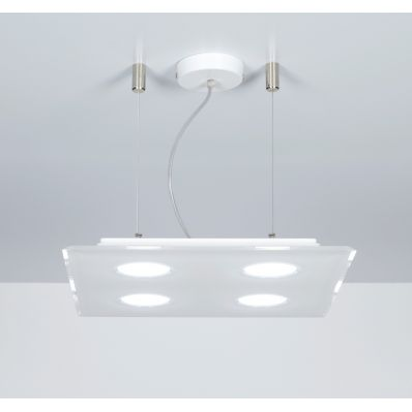 Lampadario quadrato a sospensione 40 x 40 cm a 4 luci Domino