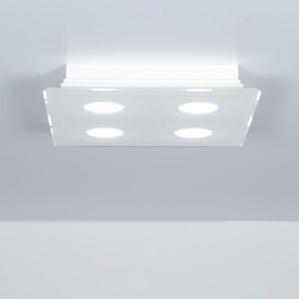Plafoniera quadrata a 4 luci in metacrilato 40 x 40 cm Domino
