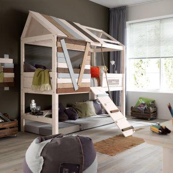 Cameretta bambini Treehouse Alto in legno massello