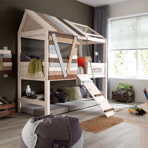 Cameretta bambini con letto a castello in legno treehouse alto for Crea cameretta