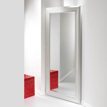 Specchiera Angolo ad anta per ingresso in legno laccato Bianco cm.97x192h
