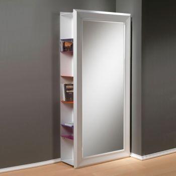 Specchio da parete Angolo Rettangolo in legno laccato bianco cm.97x192h