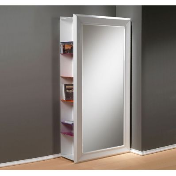 Specchio da parete Pezzani Angolo Rettangolo in legno laccato bianco cm.97x192h