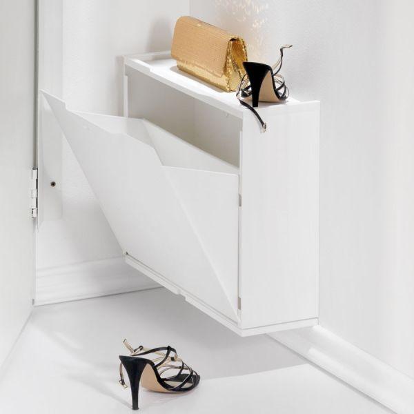 Mobili salvaspazio per ingresso angolo rettangolo c1 in legno laccato bianco ebay - Fissaggio mobili a parete ...