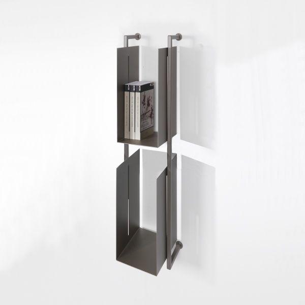 Libreria scaffale Libra 15 in acciaio tubolare 19 x 94 cm