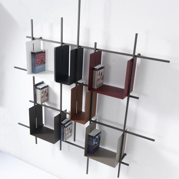 Libreria da parete Libra2 in acciaio tubolare 160 x 180 cm