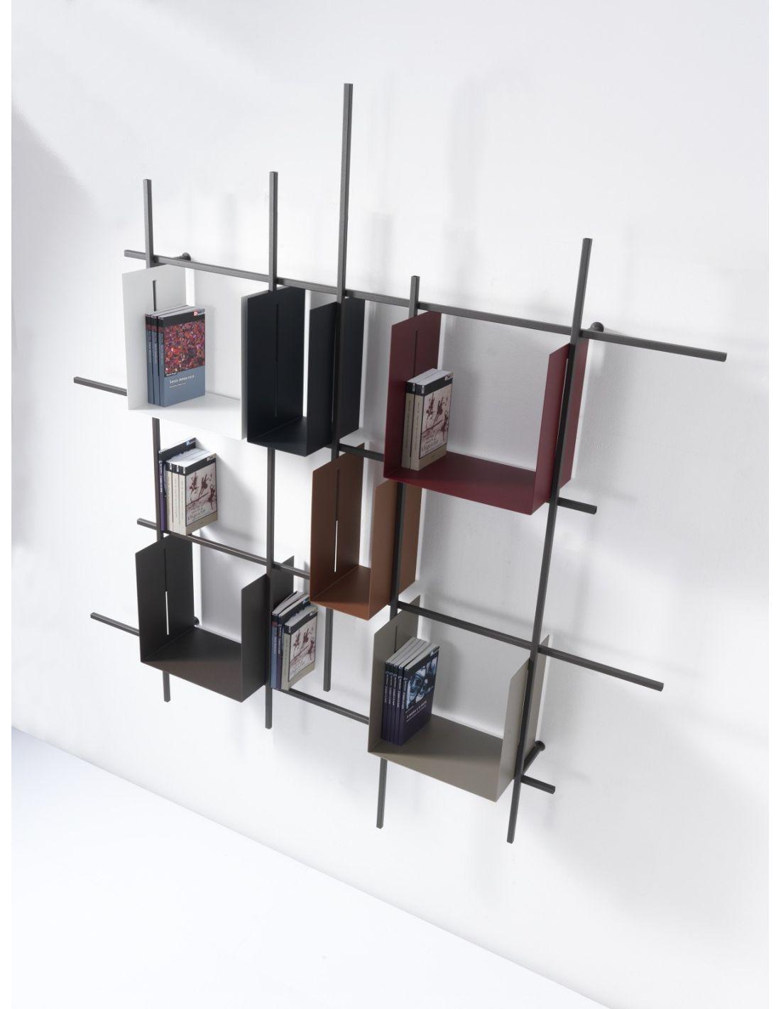 Libreria da parete libra2 in acciaio tubolare 160 x 180 cm - Libreria a parete ...
