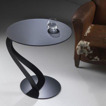 Tavolino Swan da salotto lato divano in acciaio e vetro