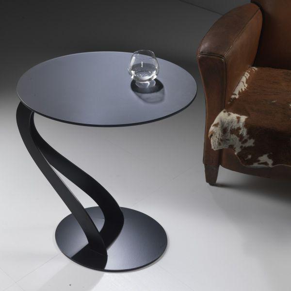 Tavolino da salotto lato divano in acciaio e vetro Swan
