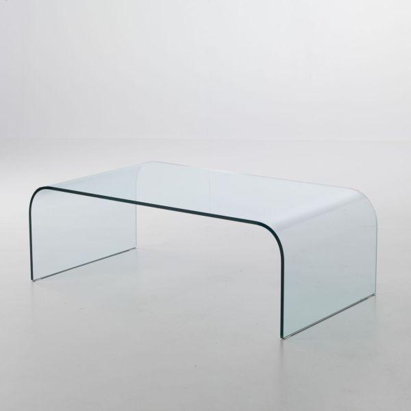Tavolino rettangolare Stefan in vetro curvato 110 x 60 cm