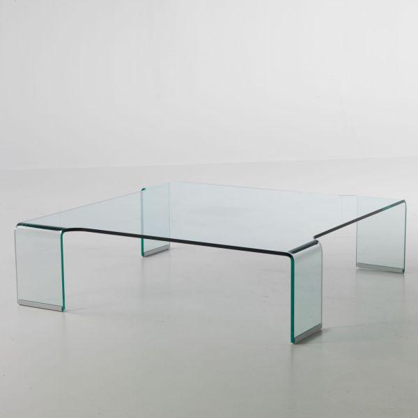 Tavolino in vetro curvato Addison da soggiorno 100 x 100 cm