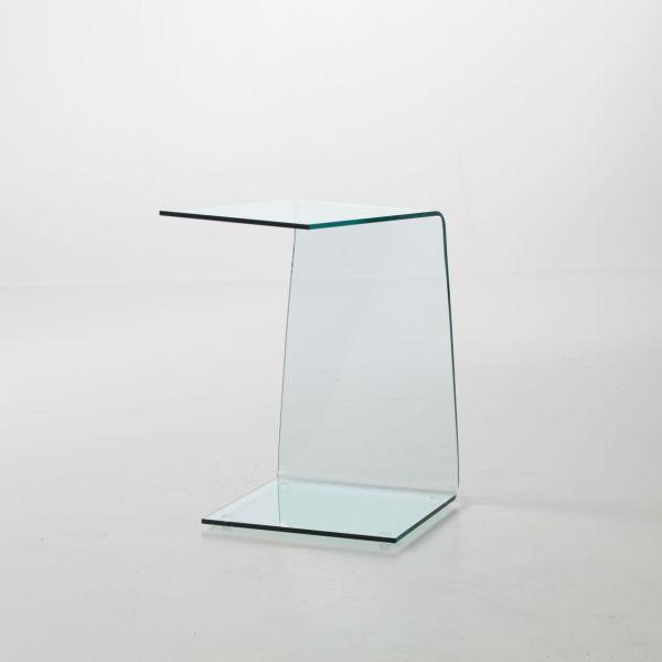 Tavolino in vetro curvato Sabine lato divano 40 x 40 x 60 cm