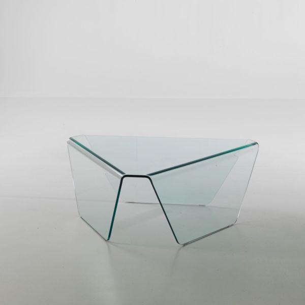 Tavolino in vetro Kettering triangolare a 3 gambe