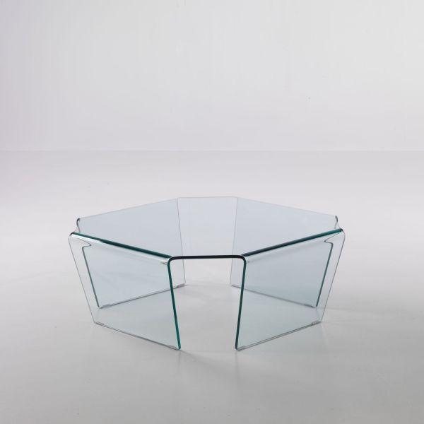 Tavolino quadrato Telford in vetro curvato a 4 gambe 80 x 80 cm