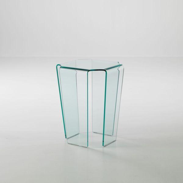 Tavolino Morley in vetro curvato trasparente 40 x 40 x 55 cm