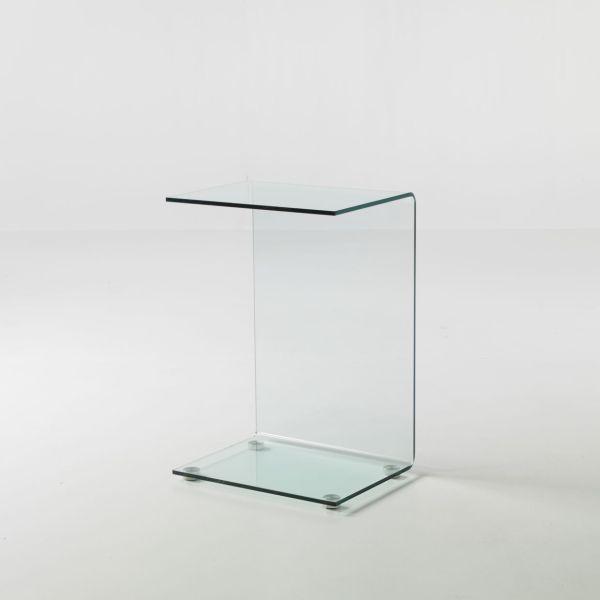 Tavolino Jorge in vetro curvato lato divano 45 x 35 x 66 cm