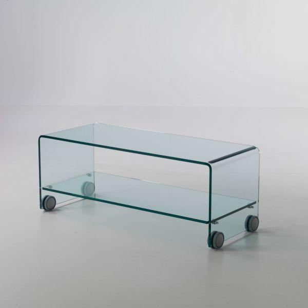... TV > Tavolino porta TV Leonid in vetro curvato su ruote 100 x 40 cm