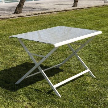 Tavolo pieghevole Benat da esterno in alluminio e vetro 120 cm