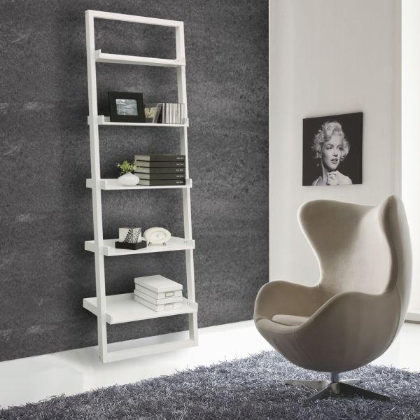 Libreria da parete moderna 5 ripiani in legno bianco Di-Do