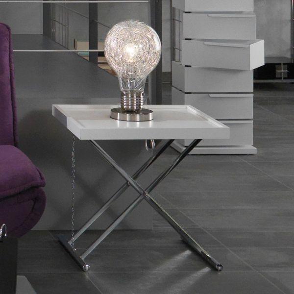Tavolino pieghevole Sabadell laterale divano in MDF bianco